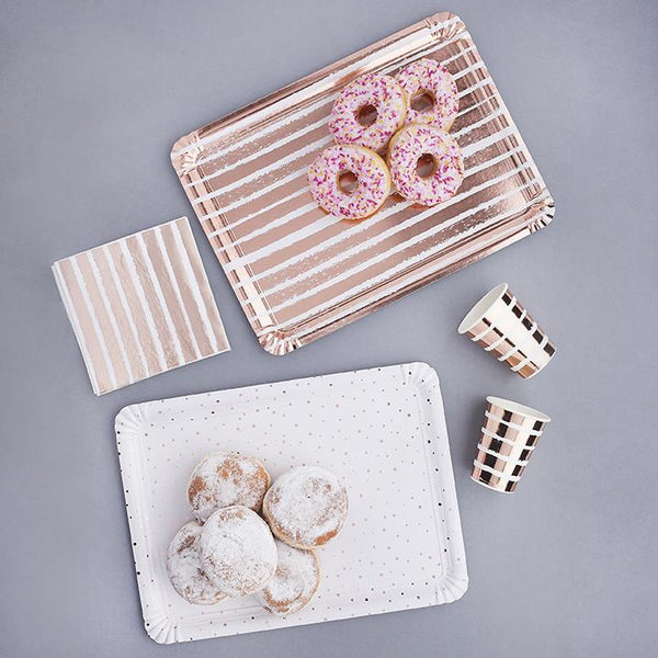 Rose Gold Striped & Spotted Paper Trays | Stylish & Fun Party Tableware