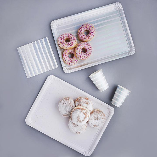 Iridescent Striped & Spotted Paper Trays  | Stylish & Fun Party Tableware