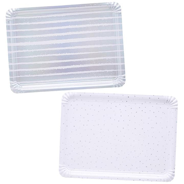 Iridescent Striped & Spotted Paper Trays  Paper Trays Club Green - Hello Party