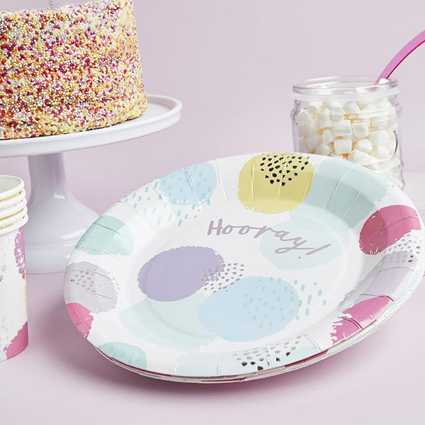 Pastel Patterned Hooray Paper Plates  | Stylish & Fun Party Tableware