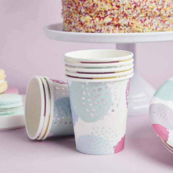 Pastel Patterned Paper Cups  Party Cups Club Green - Hello Party