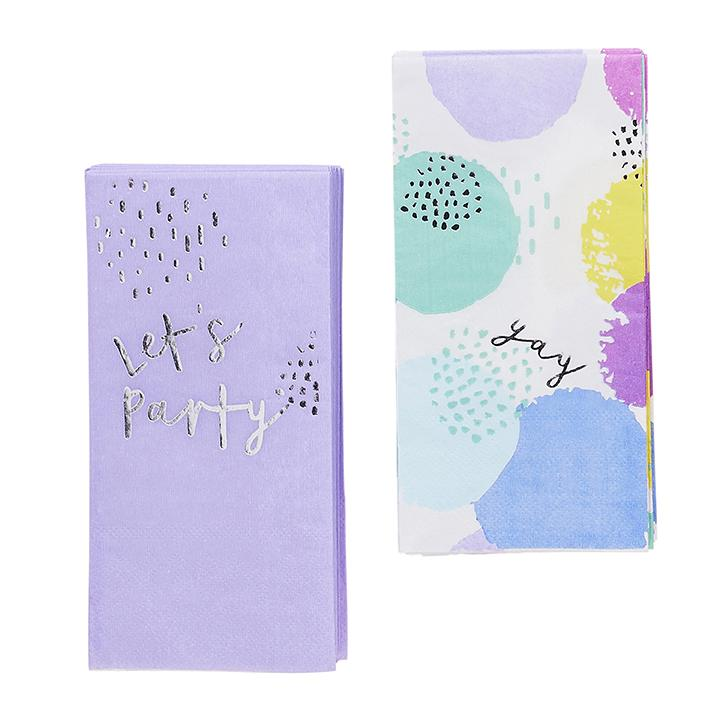 Pastel Patterned Napkin Duo  Napkins Club Green - Hello Party