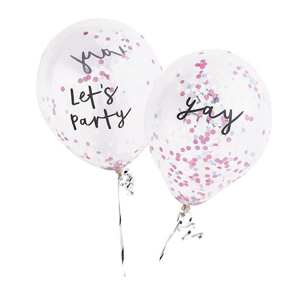 Let's Party & Yay Pastel Confetti Balloons |  Stylish & Fun Party Supplies