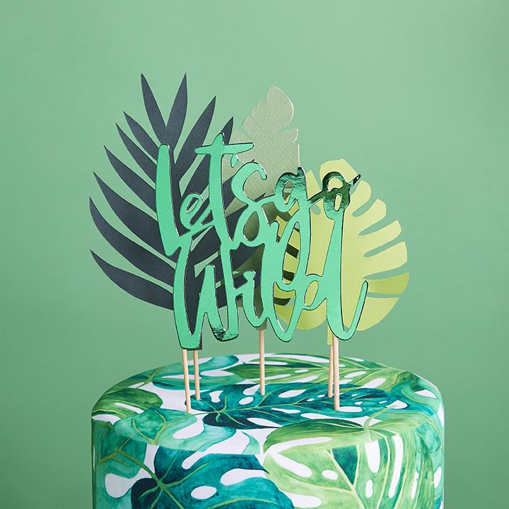 Let's Go Wild Tropical Cake Topper Set  Cake Toppers Club Green - Hello Party