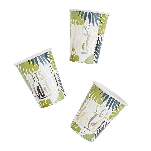 Tropical Leaf Patterned Paper Cups  Party Cups Club Green - Hello Party