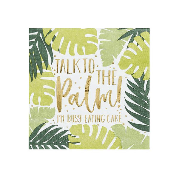 Tropical Leaf Patterned Paper Napkins  Napkins Club Green - Hello Party
