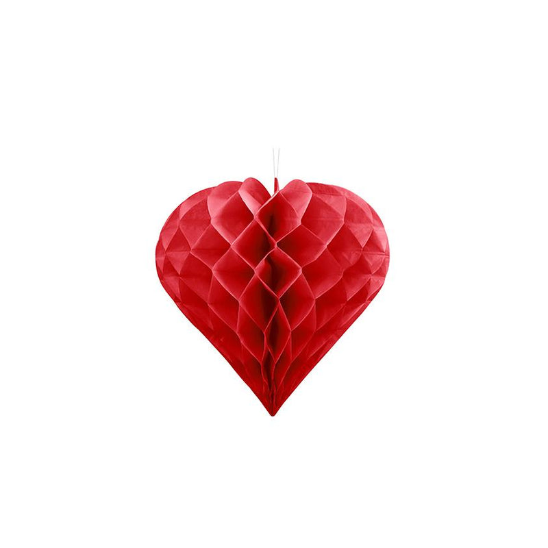 Small Heart Honeycomb - Red  Honeycomb Decorations Party Deco - Hello Party
