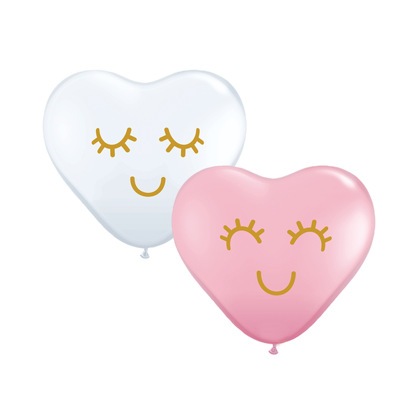 Cute Face Heart Shaped Balloons (pack of 5)  Heart Shaped Ballloons Hello Party Essentials - Hello Party