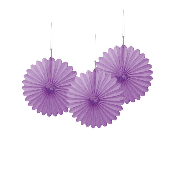 Mini Purple Paper Fans 3pk