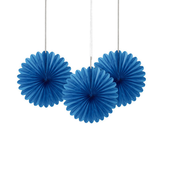 Royal Blue Paper Fans 3pk