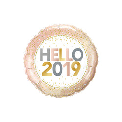 Hello 2019 Round Foil Balloon  Standard Foil Balloons qualatex - Hello Party