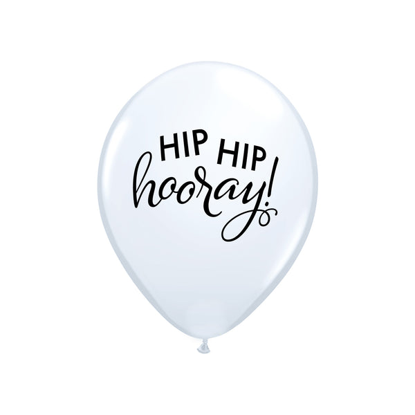 Hip Hip Hooray White Balloons (pack of 3)