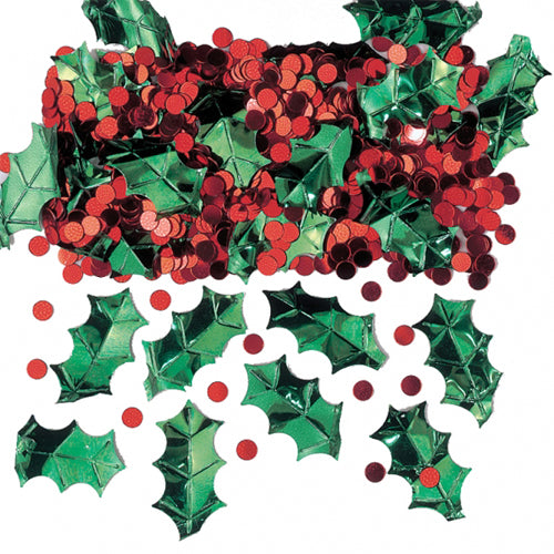 Holly and Berries Metallic Confetti for Christmas Parties