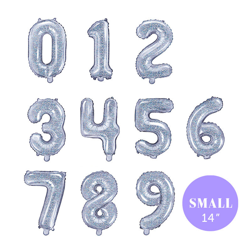"Small Holographic Number Foil Balloons (14"")  Balloons Party Deco - Hello Party"