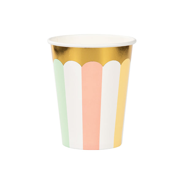 Pretty Pastels Striped Party Paper Cups