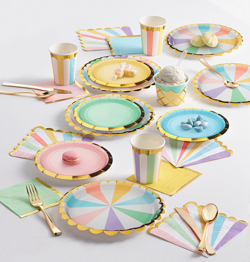 Pretty Pastels Striped Party Paper Cups Lifestyle