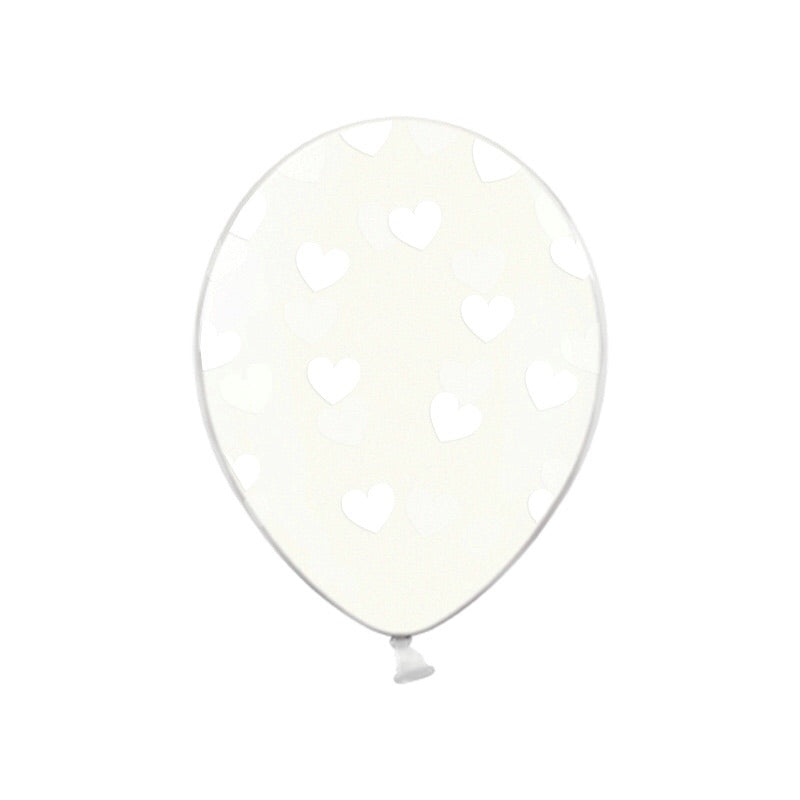 White Heart Pattern Clear Balloons (Pack of 3)  Printed Latex Balloons Hello Party Essentials - Hello Party