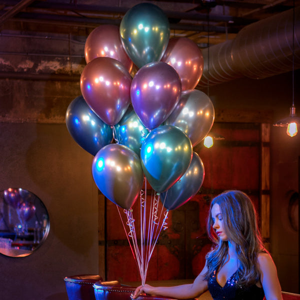 Chrome Blue Balloons (pack of 5)  Latex Balloons Hello Party Essentials - Hello Party