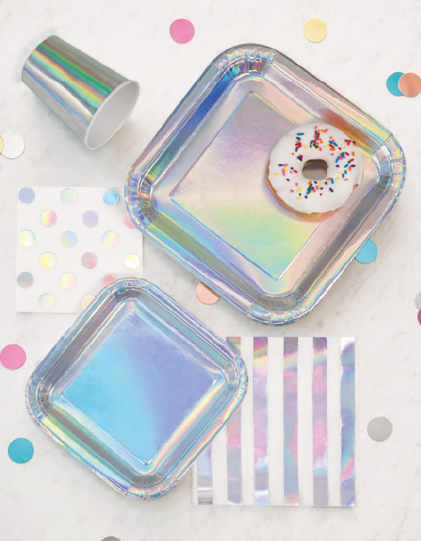 Shiny Metallic Iridescent Square Paper Plates Tabletop