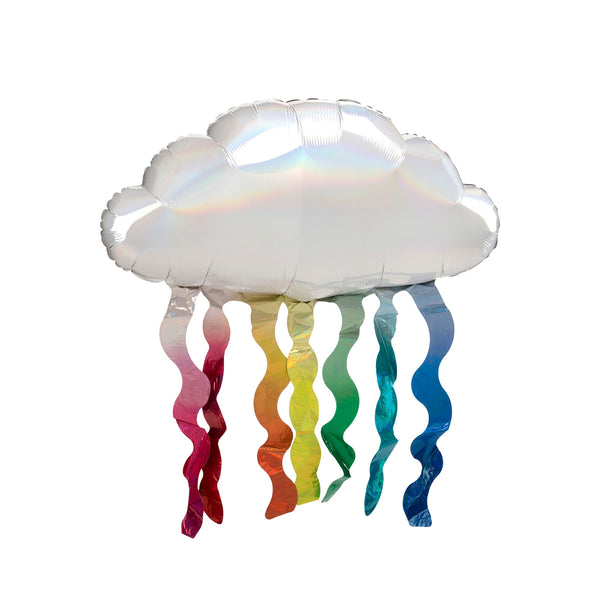 Iridescent Cloud with Rainbow Streamers Foil Balloon