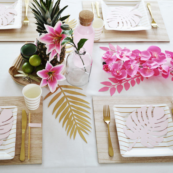 Gold Striped Square Party Plates Table Setting