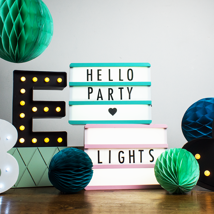 Mint Green Wooden A5 Lightbox  Lights Ginger Snap - Hello Party