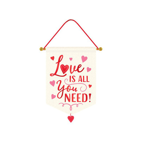 Love Is All You Need Hanging Canvas Sign  Hanging Decorations amscan - Hello Party