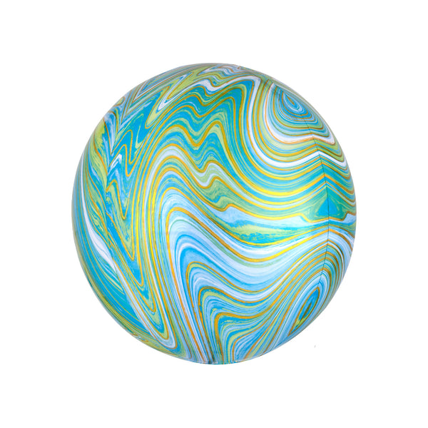 Blue Green Marble Orbz Balloon  orb balloon Anagram - Hello Party