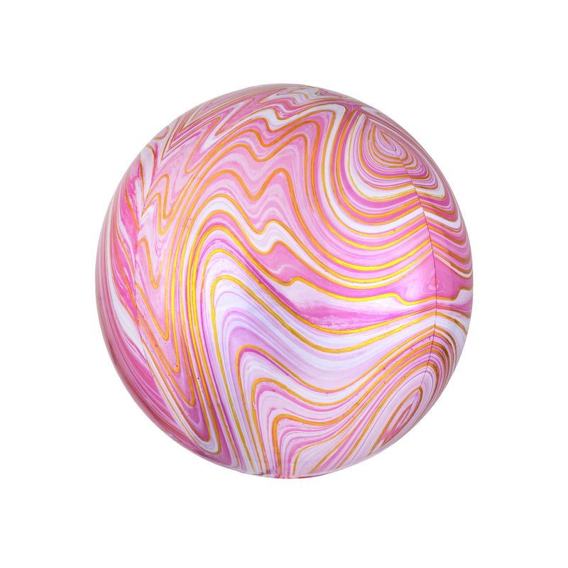 Pink Marble Orbz Balloon  orb balloon Anagram - Hello Party