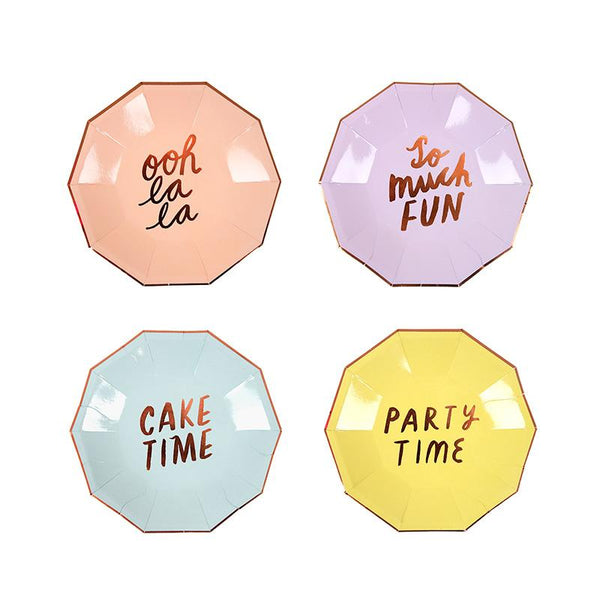 Small Typographic Party Plates  Party Plates Meri Meri - Hello Party