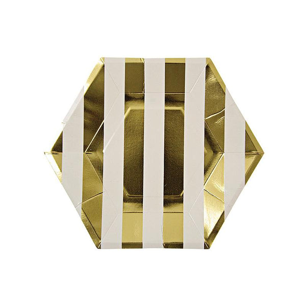 Meri Meri Gold Stripe  Large Hexagon Party Plate