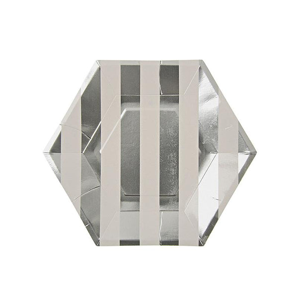 Meri Meri Silver Stripe  Large Hexagon Party Plate