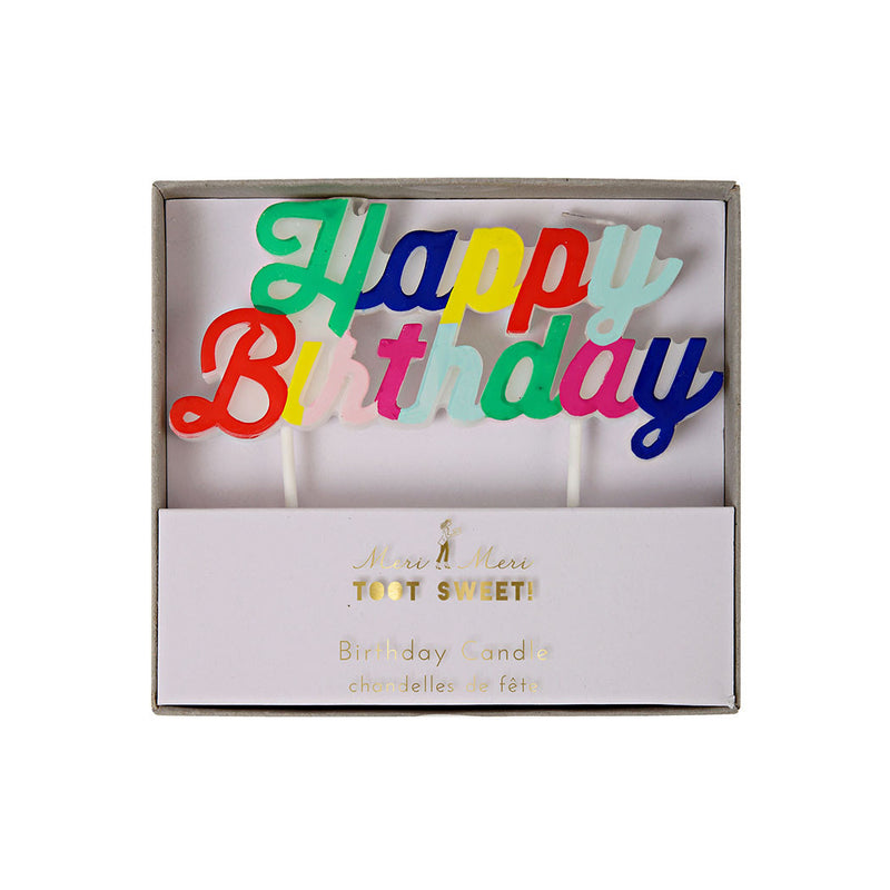 Multi Coloured Happy Birthday Candle  Party Candles Meri Meri - Hello Party