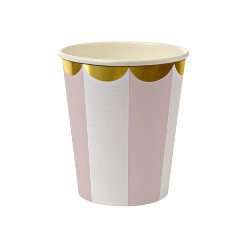 Dusty Pink Striped Cups  Party Cups Meri Meri - Hello Party