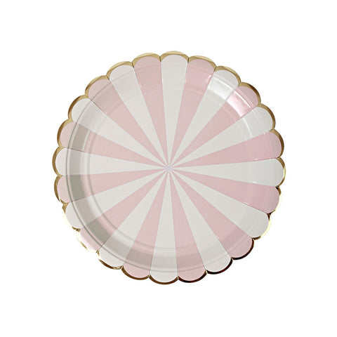 Dusty Pink Striped Plates  Party Plates Meri Meri - Hello Party