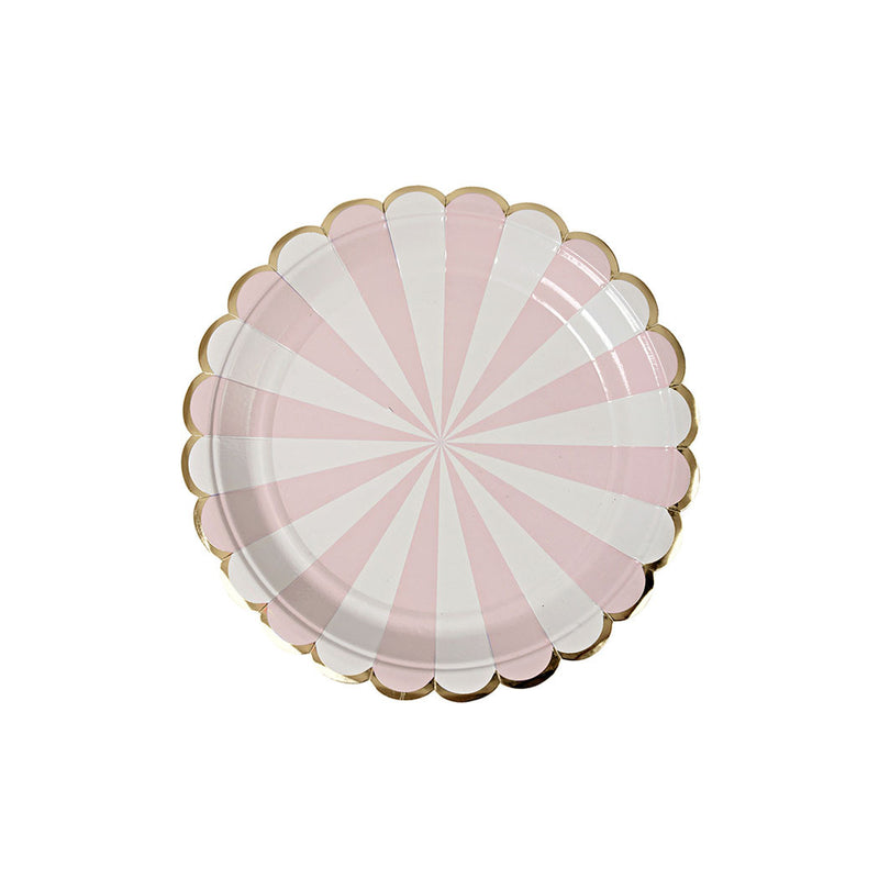 Small Dusty Pink Striped Plates  Party Plates Meri Meri - Hello Party