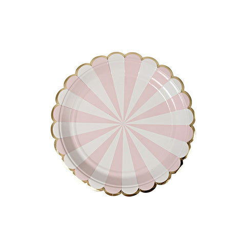 Small Dusty Pink Striped Plates