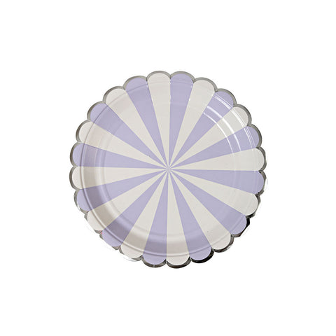 Small Lavender Striped Plates