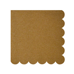 Brown Kraft Scallop Edge Napkins  Napkins Meri Meri - Hello Party