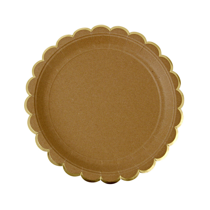 Brown Kraft Scallop Edged Plates  Party Plates Meri Meri - Hello Party