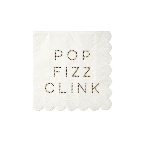 Pop Fizz Clink Small Gold Foil Napkins