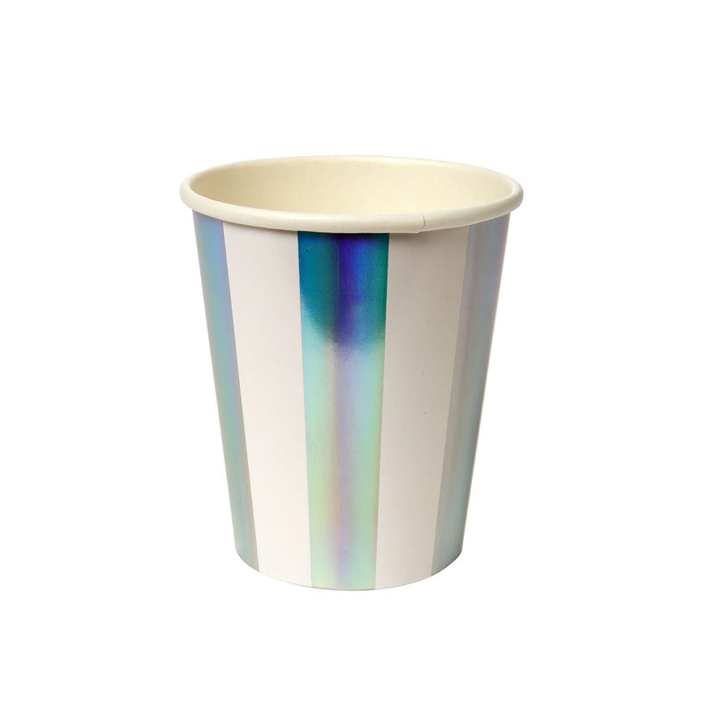 Holographic Silver Stripe Party Cups  Party Cups Meri Meri - Hello Party