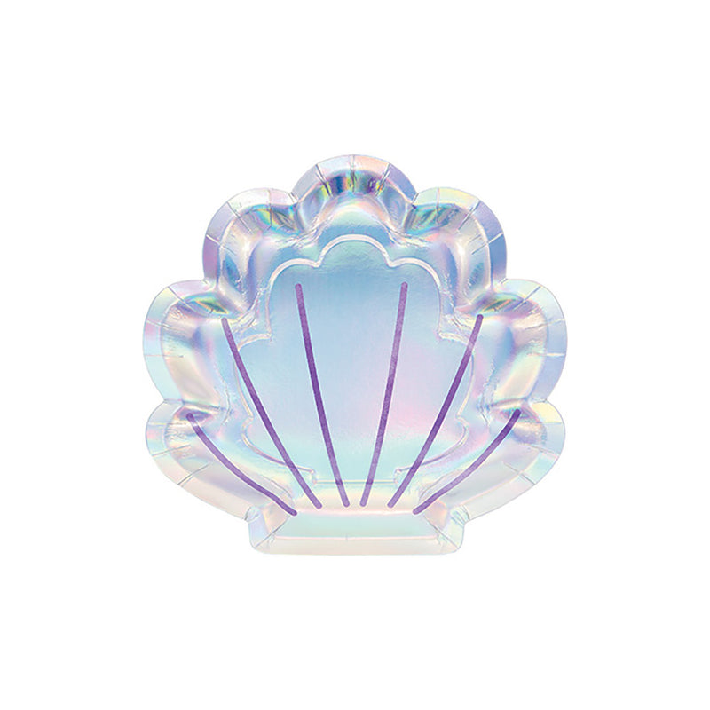 Iridescent Mermaid Shell Paper Party Plates