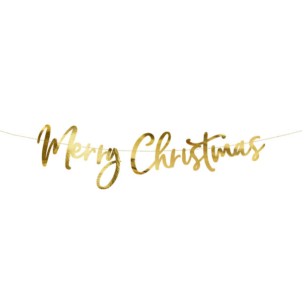 Merry Christmas Script Metallic Gold Banner  Garland Party Deco - Hello Party