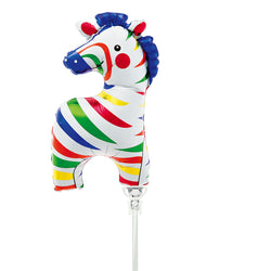 Mini Zebra Air-Fill Foil Balloon & Stick  Mini Foil Balloons Northstar - Hello Party