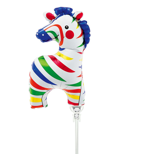 Mini Zebra Air-Fill Foil Balloon & Stick  Balloons Hello Party - All you need to make your party perfect!  - Hello Party
