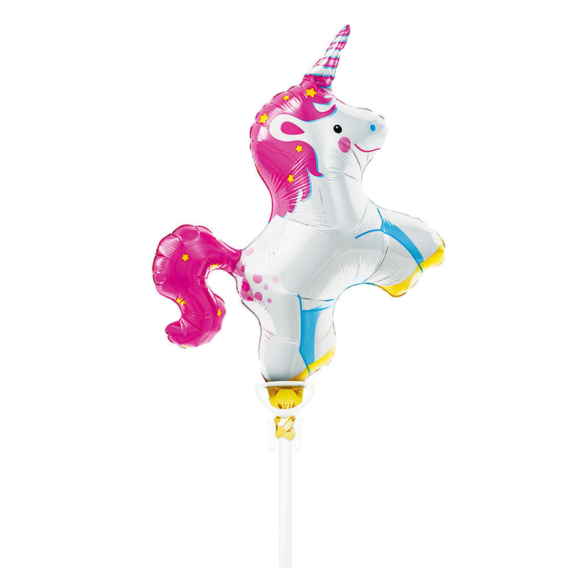 Mini Unicorn Air-Fill Foil Balloon & Stick  Balloons Hello Party - All you need to make your party perfect!  - Hello Party
