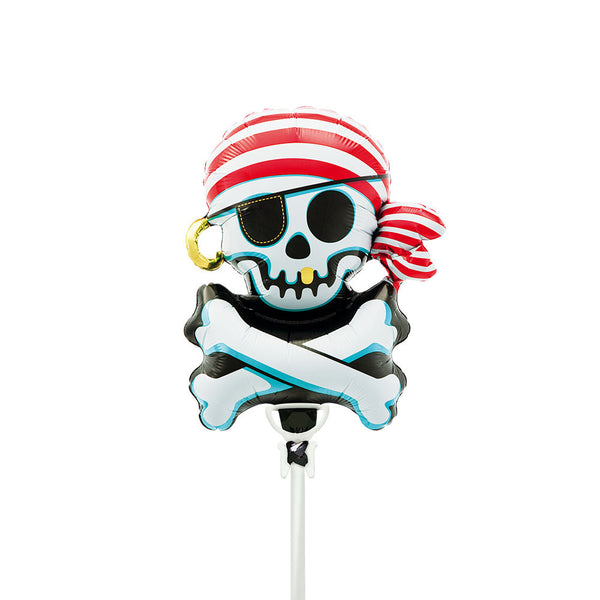"Jolly Roger 14"" Air Fill Foil Balloon & Stick  Balloons Hello Party - All you need to make your party perfect! - Hello Party"