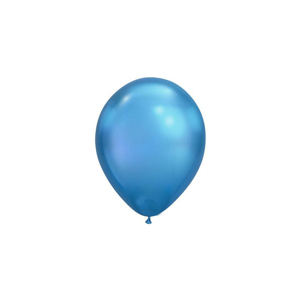MINI Chrome Blue Balloons (pack of 5)  mini balloons qualatex - Hello Party