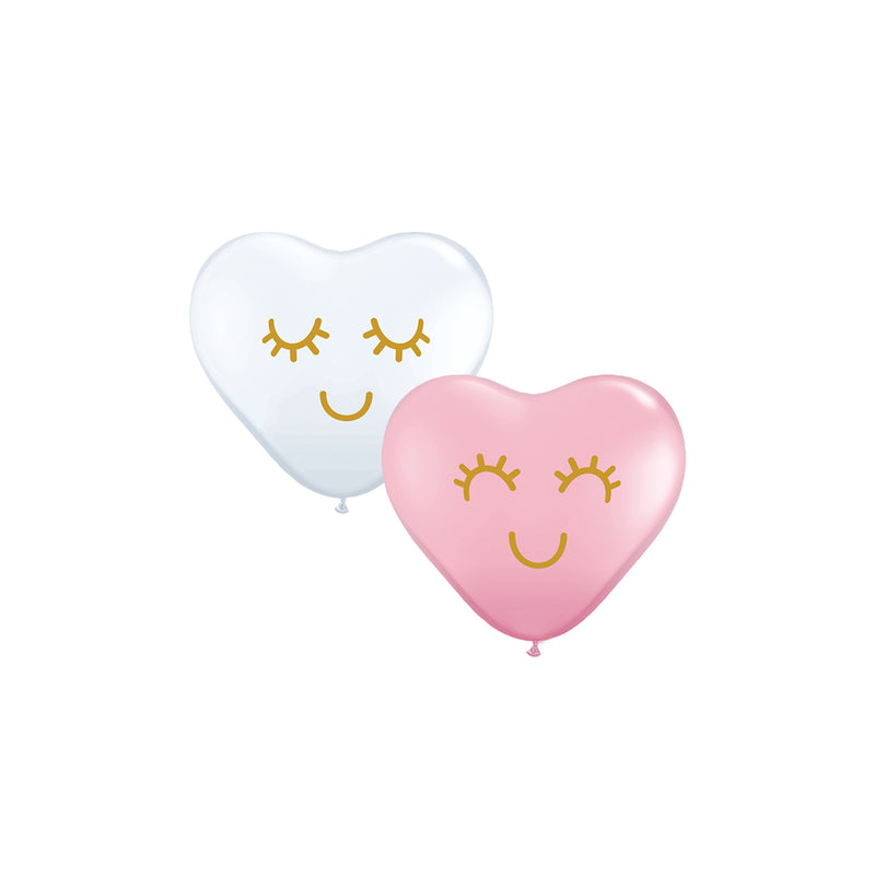 Mini Cute Face Heart Balloons (pack of 5)  Mini Heart Shaped Balloons Hello Party Essentials - Hello Party